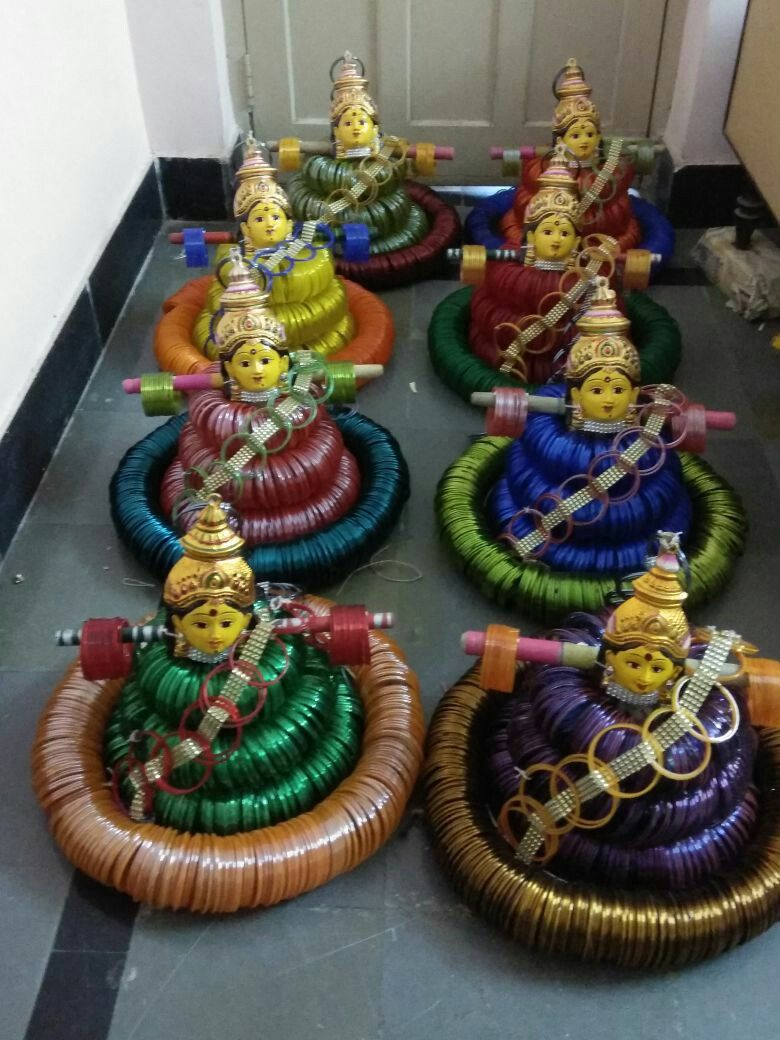 Devi made out of bangles | Wedding crafts, Thali ...
