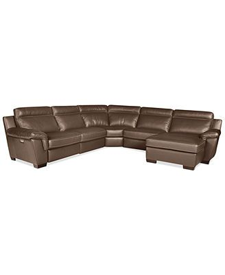 Julius 5 pc Leather Sectional Sofa with Chaise and 1 Power