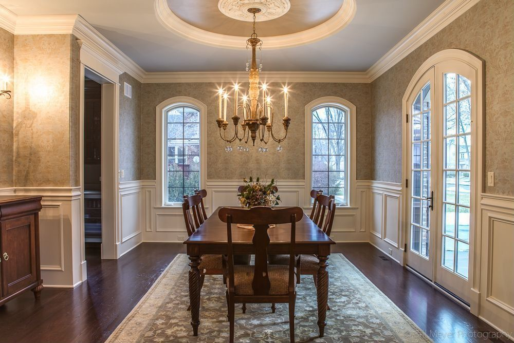 Dining Room Wallpaper With Chair Rail Laminate, Wainscotting, Crown Molding, Traditional, French