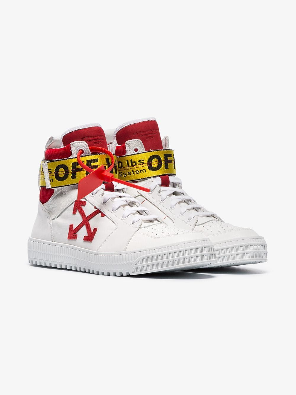 8f32649358553 Off-White red and white hi top belted sneakers | Browns | S H O E S ...