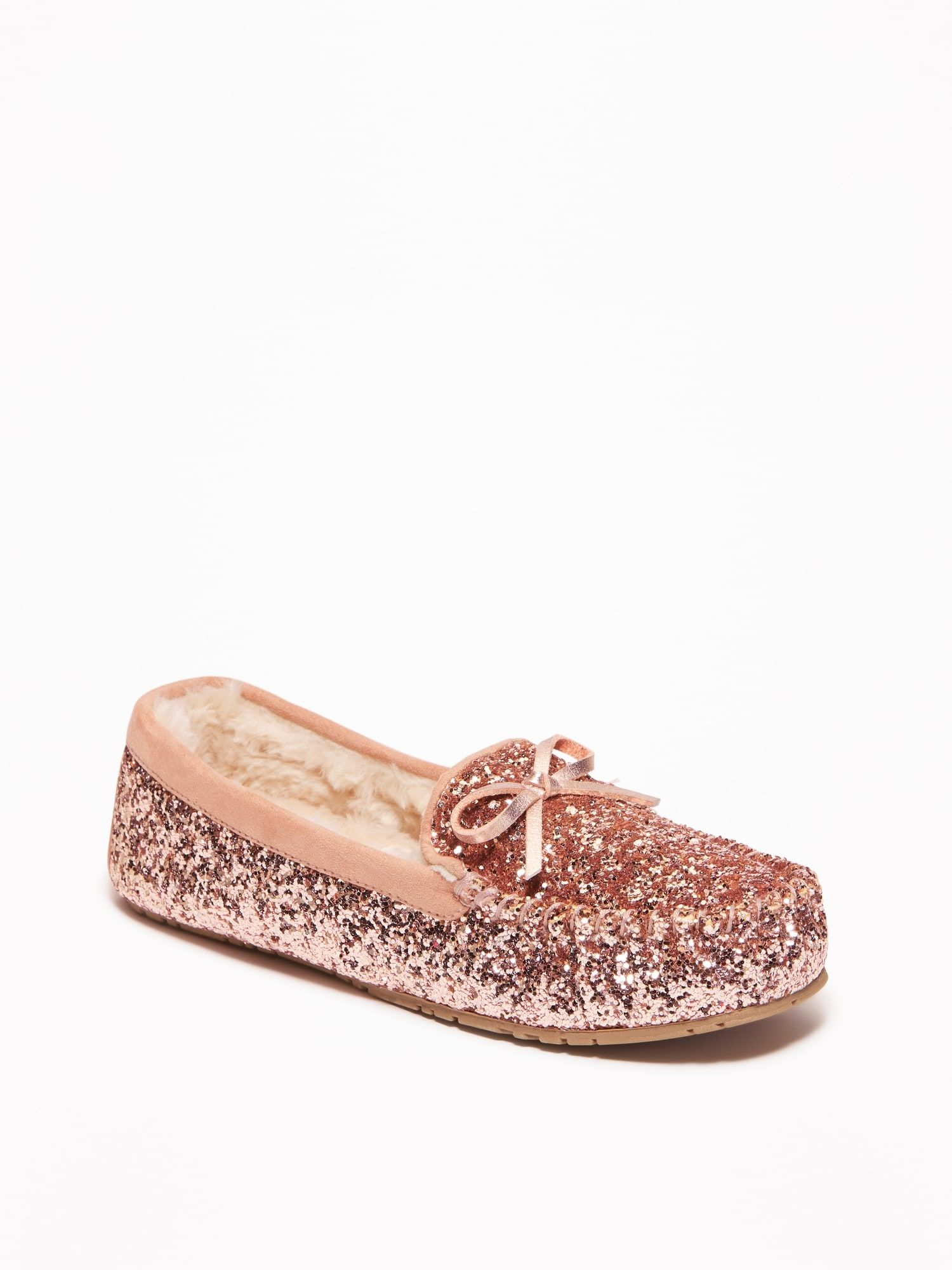 1f3bb9659adc Glitter Sherpa-Lined Moccasin Slippers for Women | gifts | Gold ...