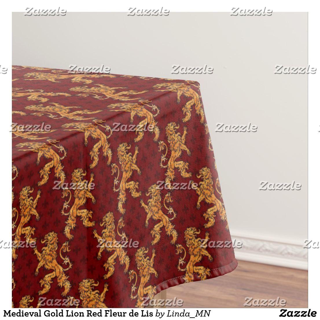 Superbe Medieval Gold Lion Red Fleur De Lis Tablecloth