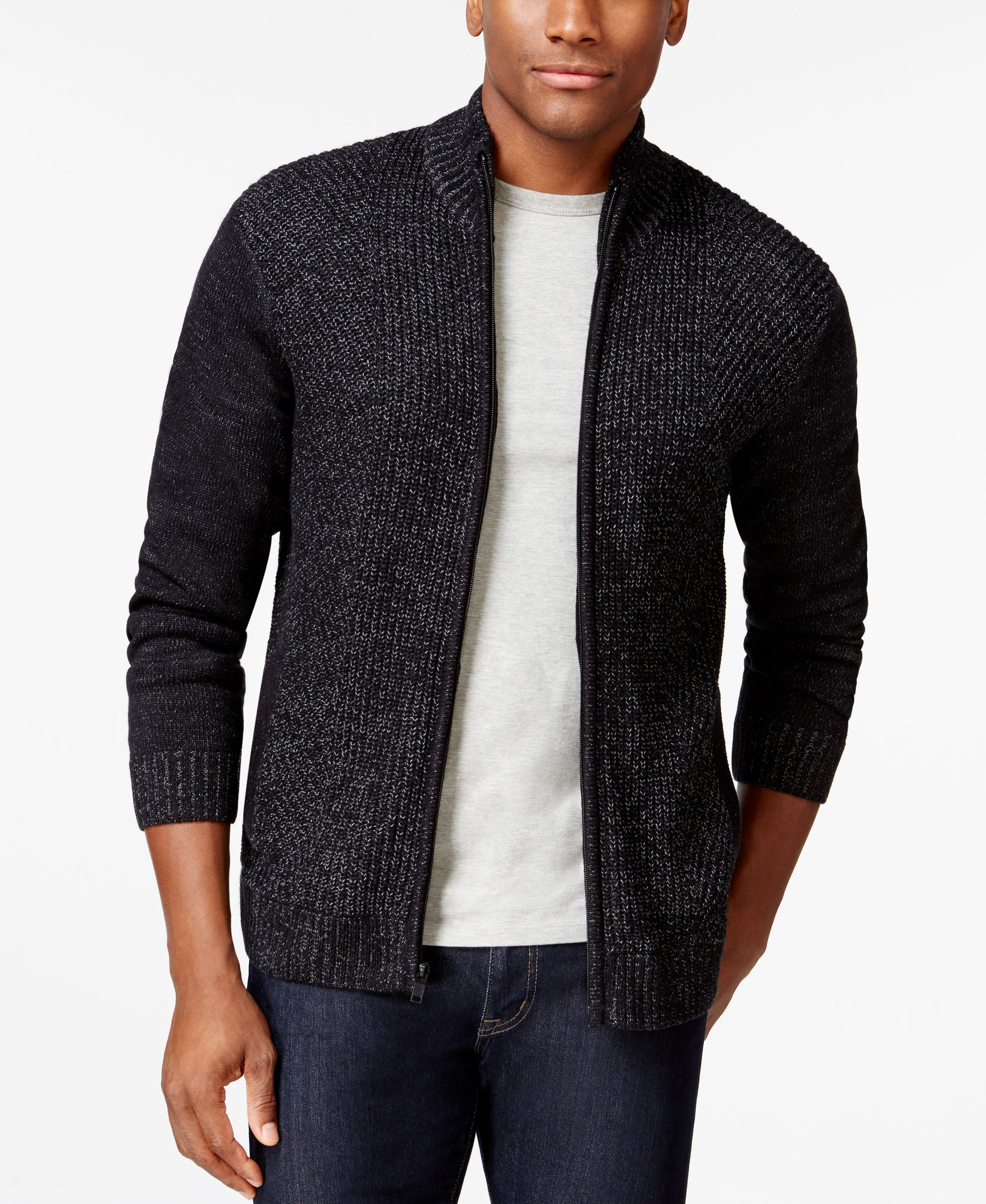 Alfani Black Big and Tall Marled Full-Zip Mock-Neck Sweater, Only at Macy's