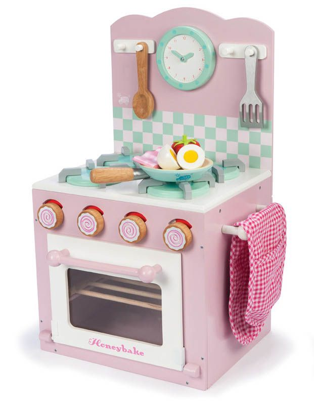 Le Toy Van Kids Wooden Kitchen Toys Oven And Hob Set Pink