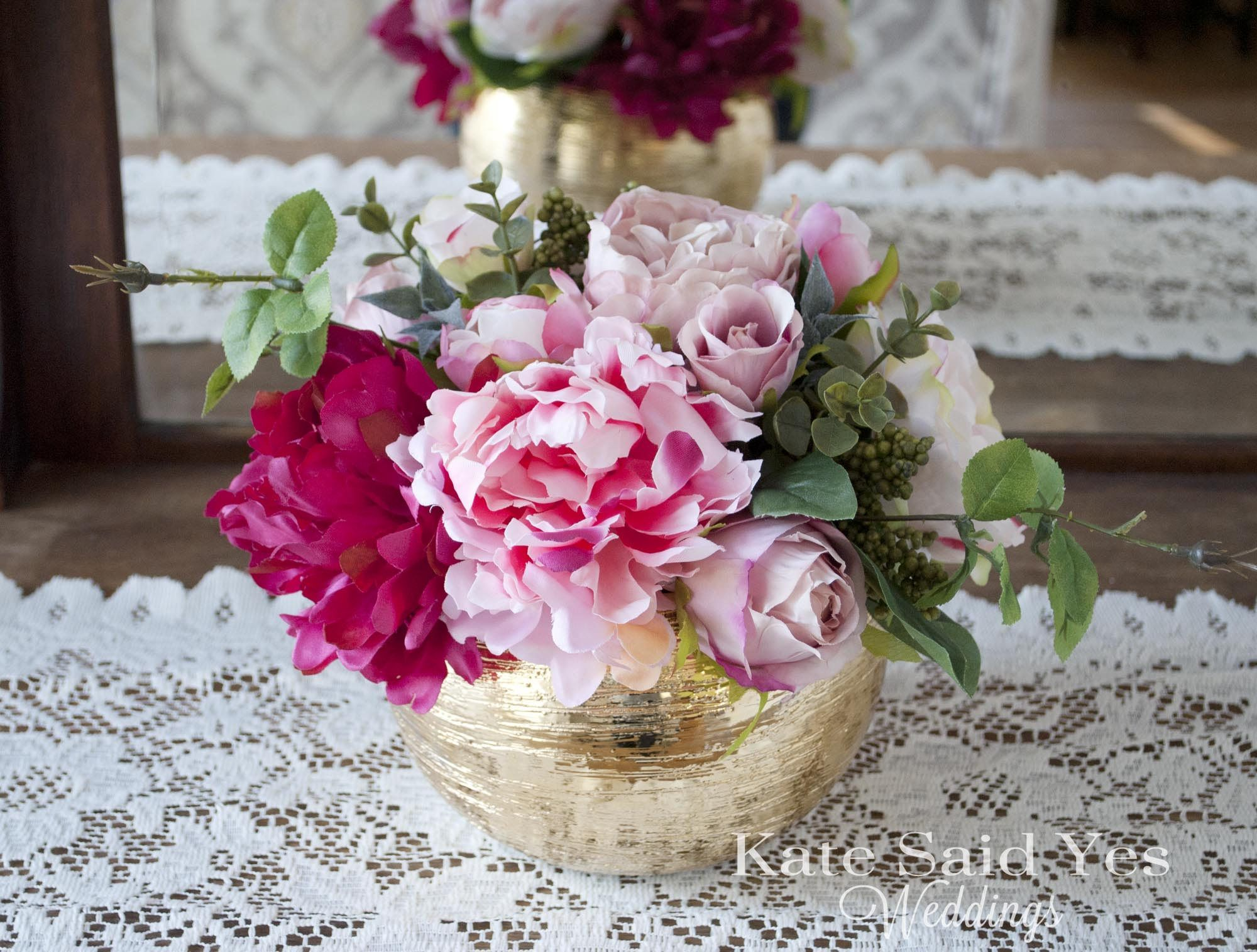 Wedding Centerpiece, Peony and Rose Gold Wedding Centerpiece, Gold ...