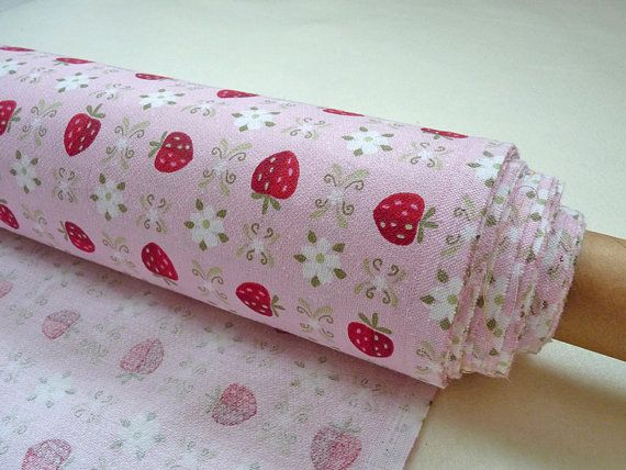 shabby chic strawberry fabric found at birdsandflowers on Etsy.