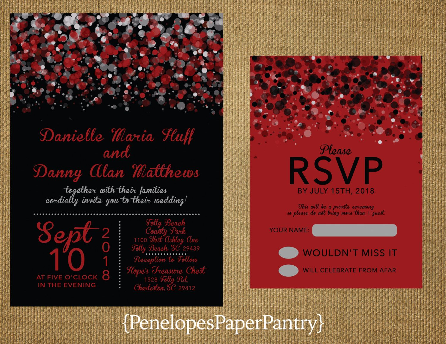Black and Red Wedding Invitations,Modern Confetti,Splatter Print ...