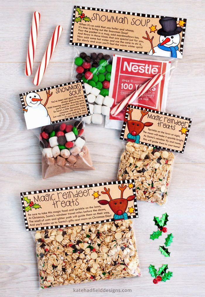 Christmas treat bag toppers: Magic Reindeer Treats & Snowman Soup printables - Kate Hadfield Designs