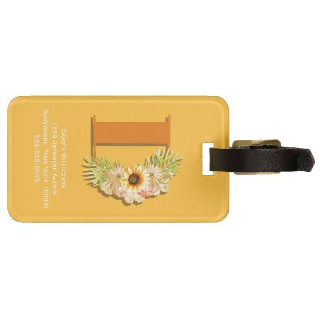 Letter D Sunflower Floral Monogram with Name Luggage Tag ...
