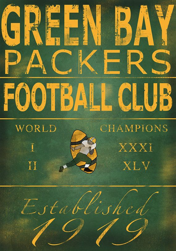 Green Bay Packers Vintage Art Print On Wood 14x20 On Etsy 60 00