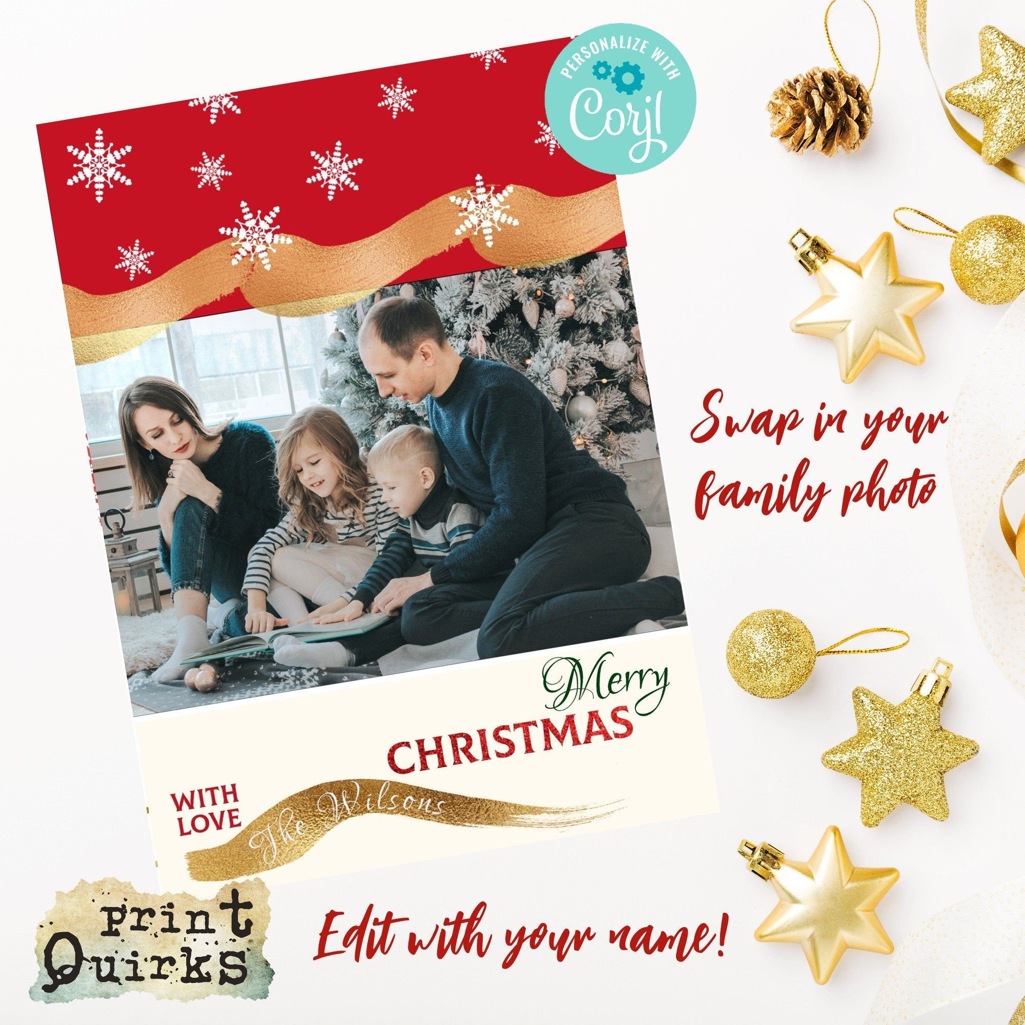 Personalised Christmas Card 5 X 7 Vertical Fold Card Etsy Personalised Christmas Cards Family Christmas Cards Merry Christmas Card