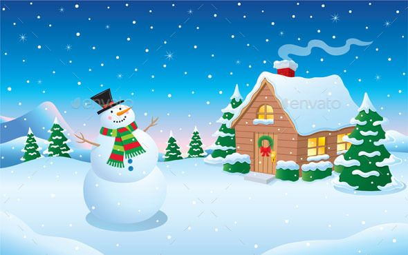 Pin By Bashooka Web Graphic Design On Best Christmas Template Snow Scenes Christmas Backdrops Christmas Cartoons