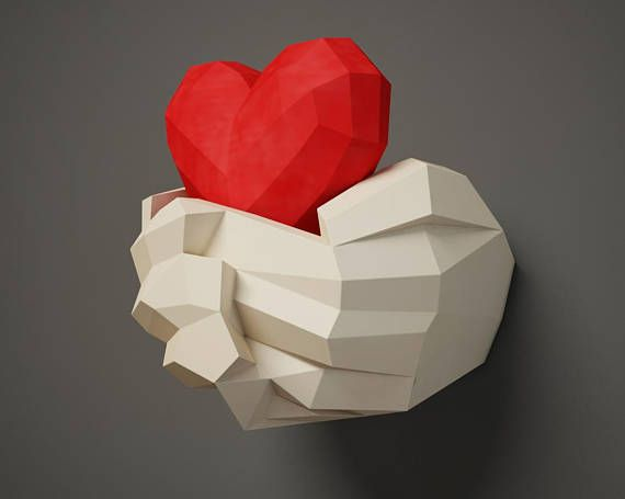 Paper Craft Hands With Heart Papercraft 3d Wall Decor Diy Gift