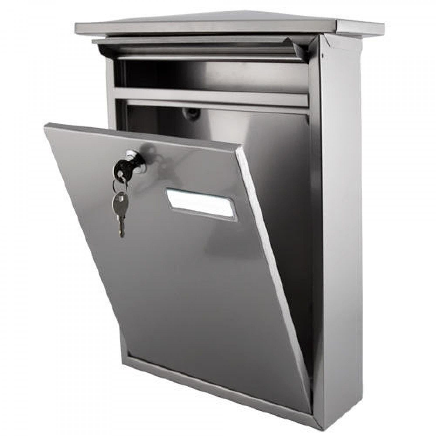 Mailbox stainless steel locking mail box letterbox postal box modern - Home Locking Wall Mount Mailbox Stainless Steel