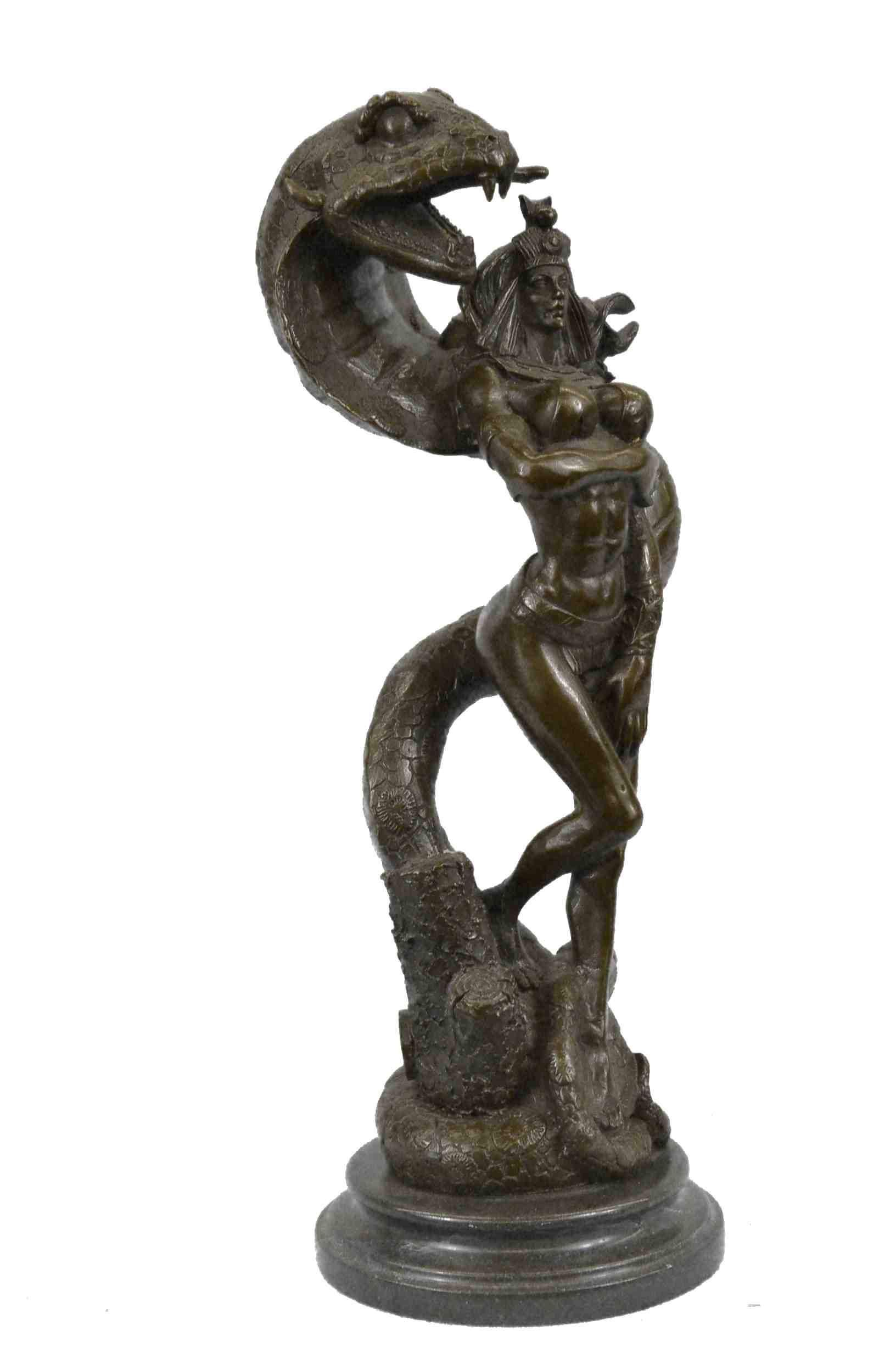 Real Bronze Metal Statue on Marble Base Female Lion Sculpture Art Deco Figurine