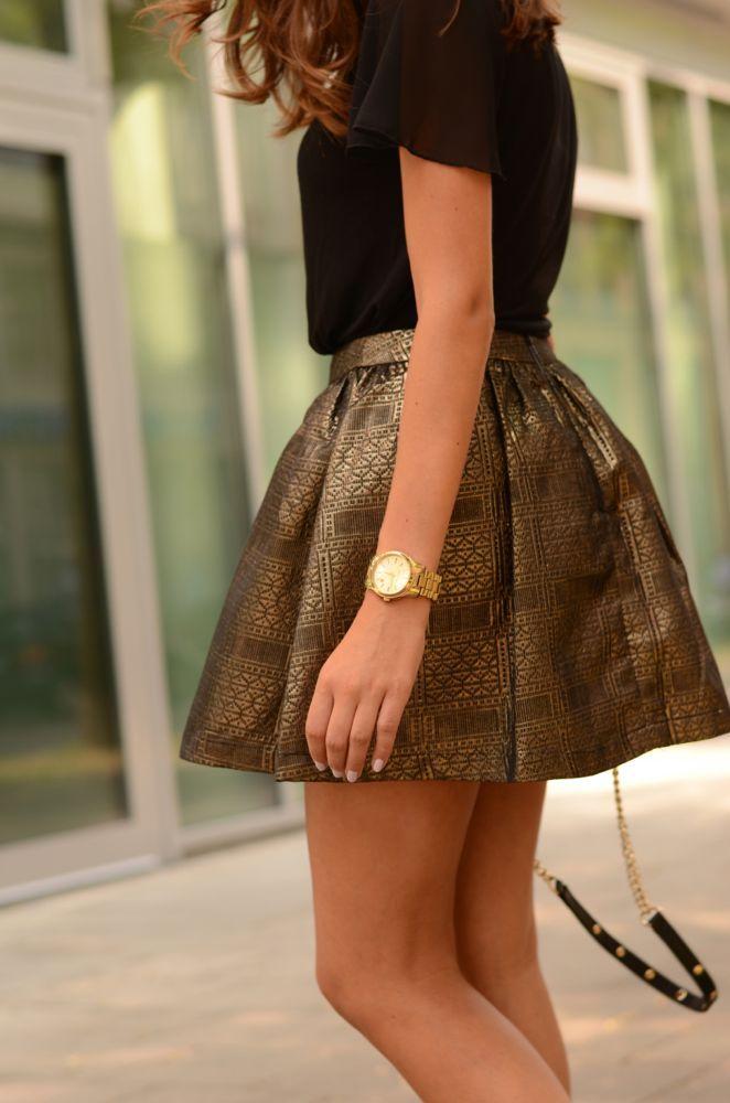 fdd586cdad Falda color bronce. Inspiración Moda
