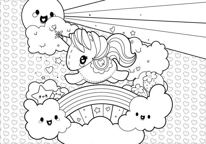 Rainbow Unicorn Scene Coloring Page | Color My World <3 | Pinterest ...
