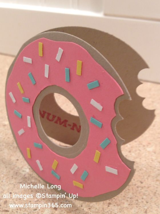 handmade card shaped like a doughnut     die cut with two
