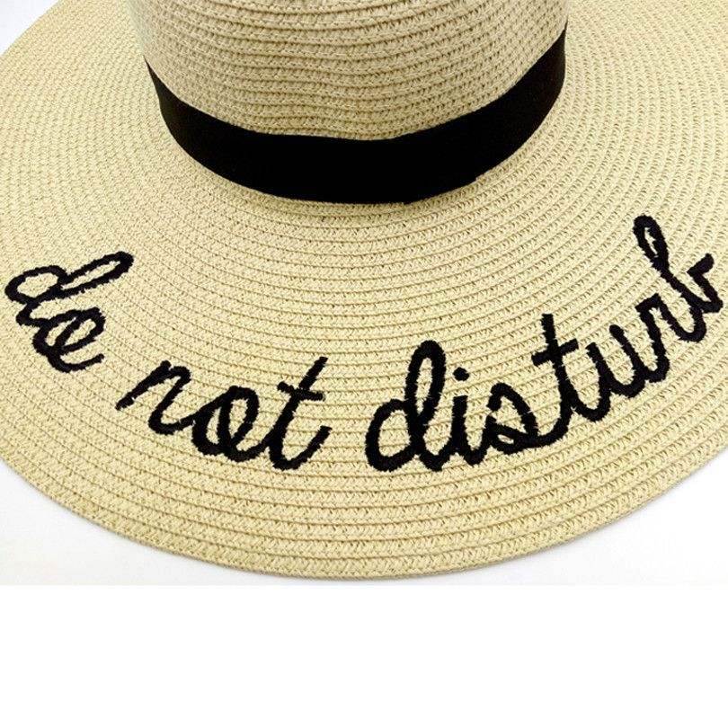 14df3ac1 Do Not Disturb Embroidery Print Women Summer Straw Hats in 2019 ...