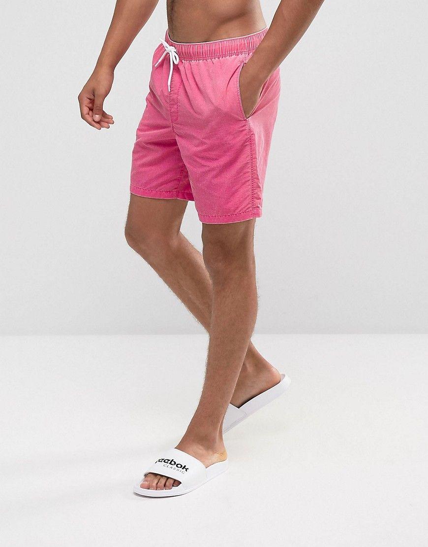 b064615c9b ASOS Mid Length Swim Shorts In Pink Acid Wash - Pink   Nayce   Gym ...