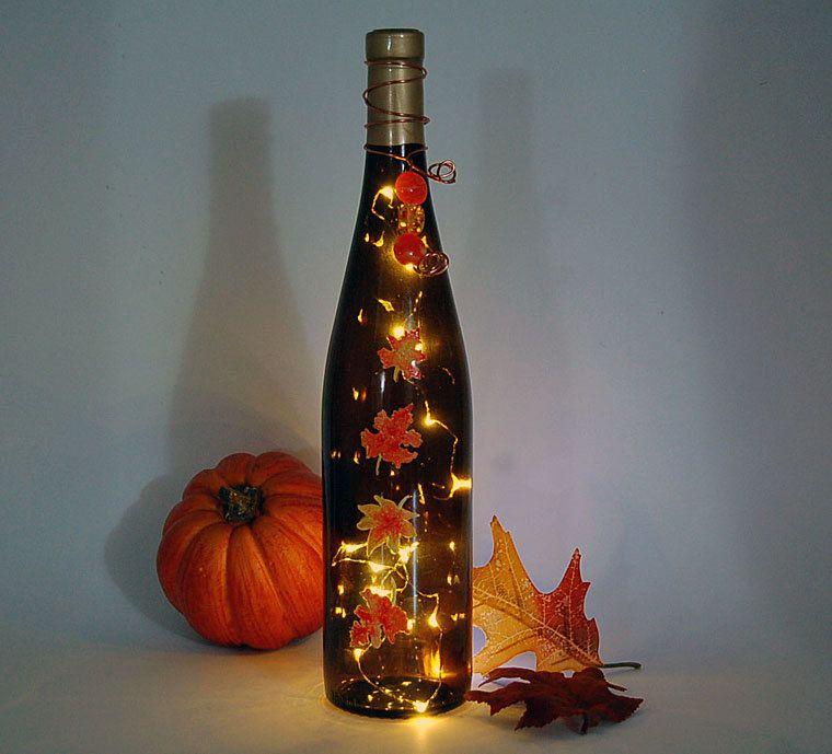 Wine bottle light thanksgiving decoration autumn leaves for Wine bottle light ideas