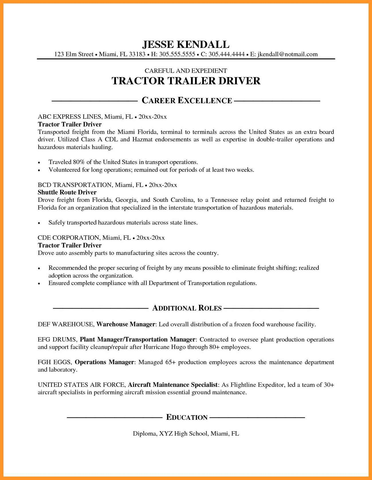 Truck Driver Resume No Experience Lovely 12 13 Cdl Class A