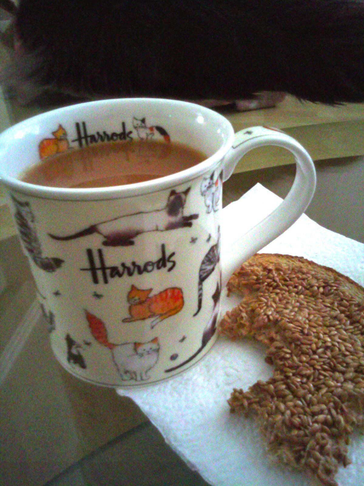 Having a comforting, hot cup of tea from Harrod's! Tea