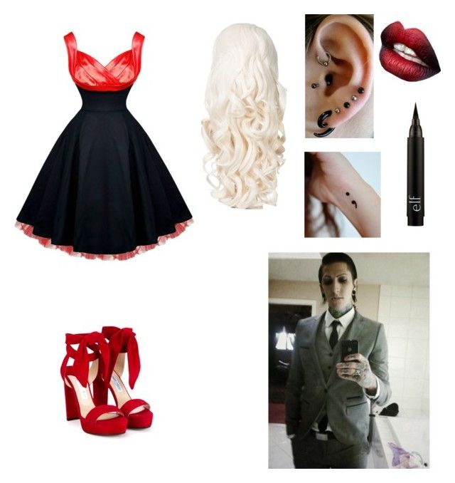 """A Date with Chris Motionless "" by tigergirl1234 ❤ liked on Polyvore featuring Jimmy Choo"