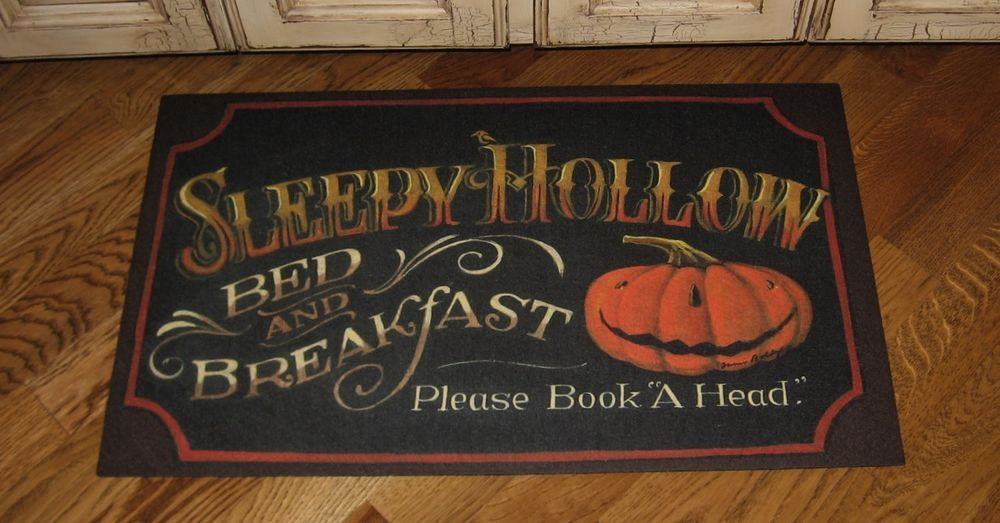 Throw RUG Mat Halloween Pumpkin*Entry/Kitchen*Primitive Farmhouse Fall  Decor*New