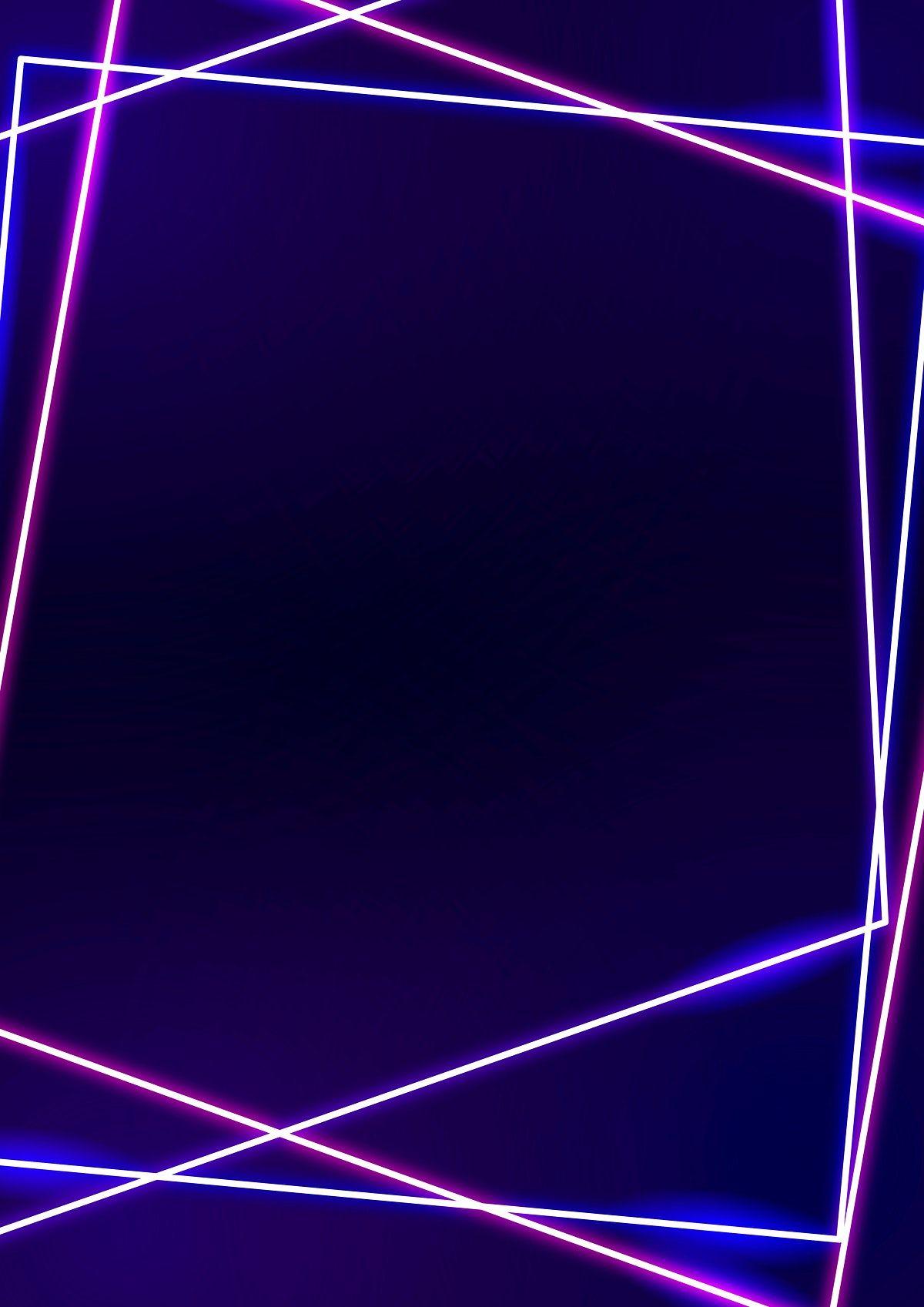 Pink Neon Frame On A Dark Purple Background Vector