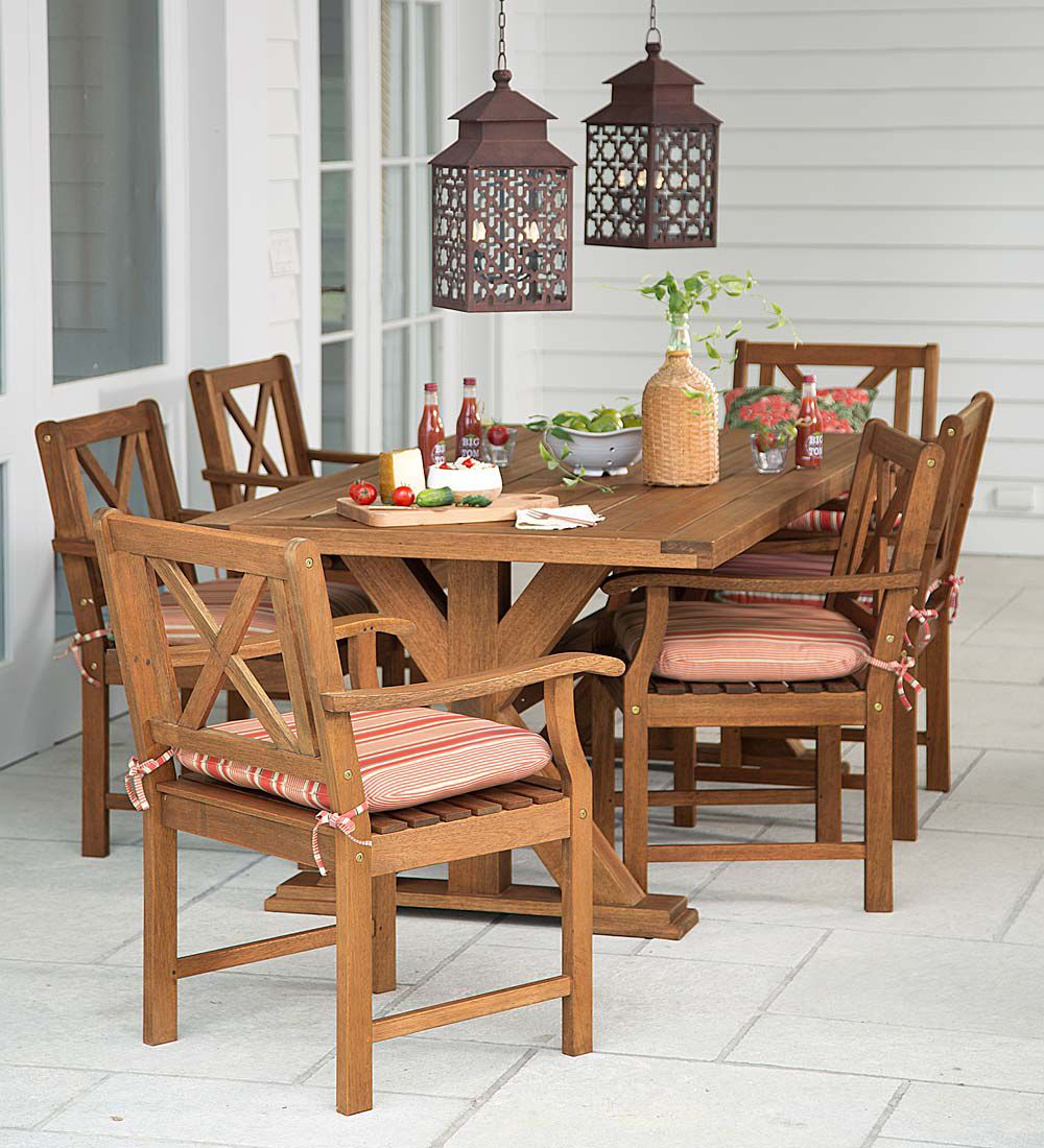Claremont Outdoor Dining Furniture, Eucalyptus Table And Six Chairs    Collection Accessories