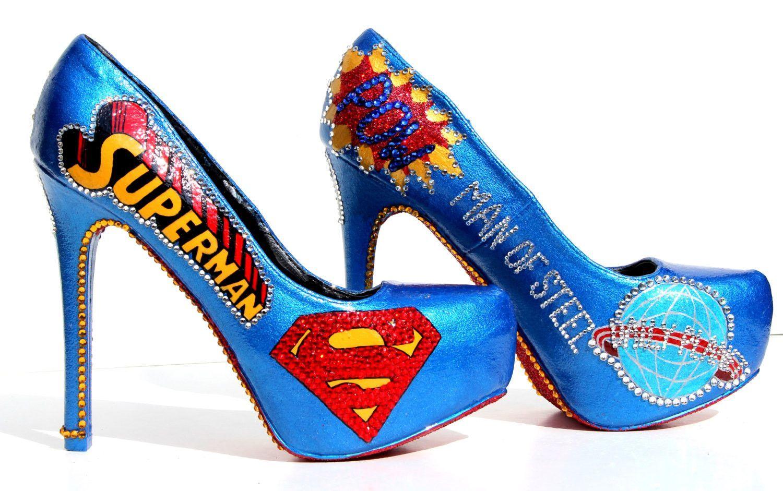 Superman Heels With Swarovski Crystals With Images Heels