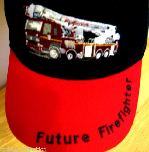 "EMBROIDERED!  Adjustable size, embroidered fire truck with ""Future Firefighter"" embroidered on the bill. What a great gift for a future firefighter. It's on sale now and it ships FREE!   www.FireandRescueStore.com"