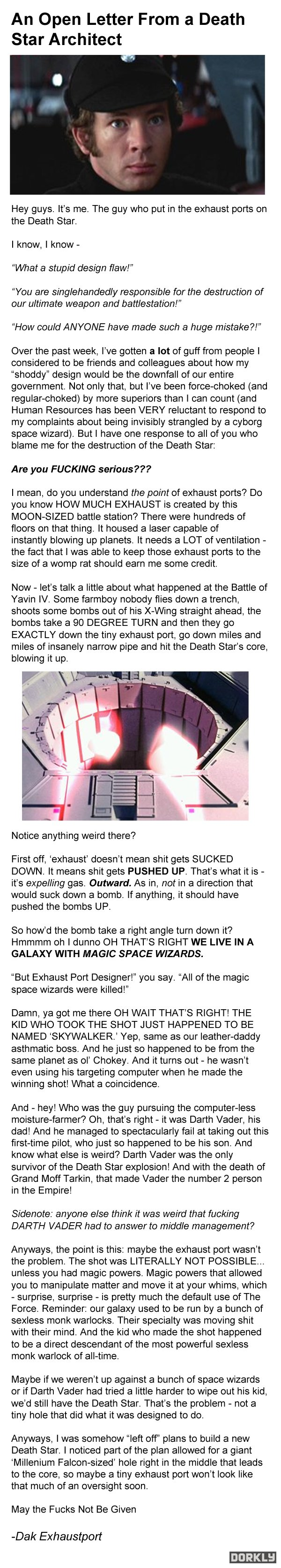 """Hi! It's me, Dak Exhaustport"" - Death Star's architect finally answer the complaints about the exhaust port. - Imgur"