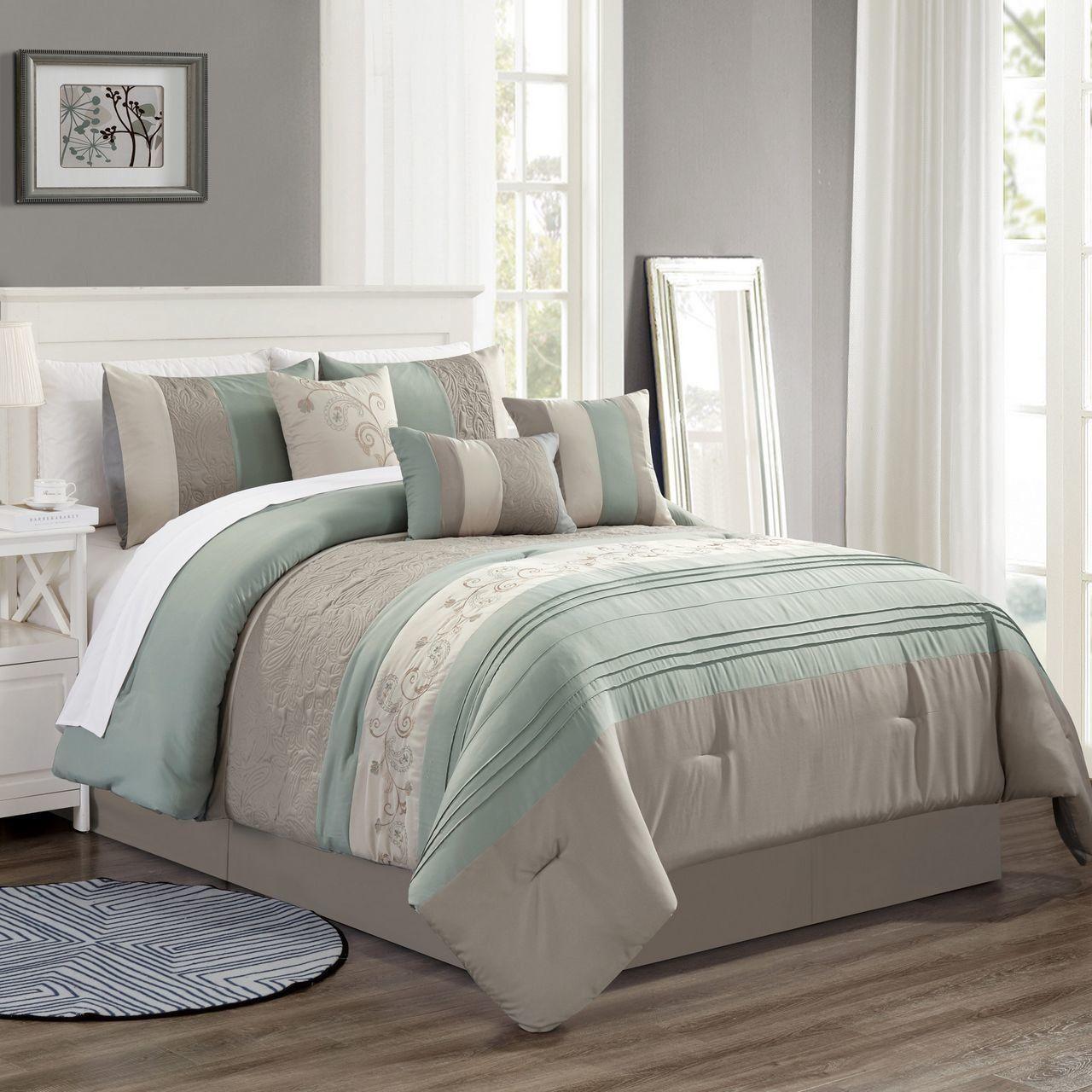 7 Piece Fenwick Sage Taupe Comforter Set In 2020 Taupe Bedding Taupe Comforter Comforter Sets