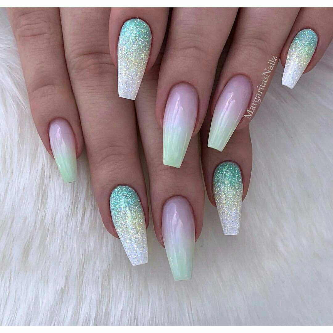 26 Spring Acrylic Nail Designs Ideas: Trendy Nail Design, Glitter Nail Art