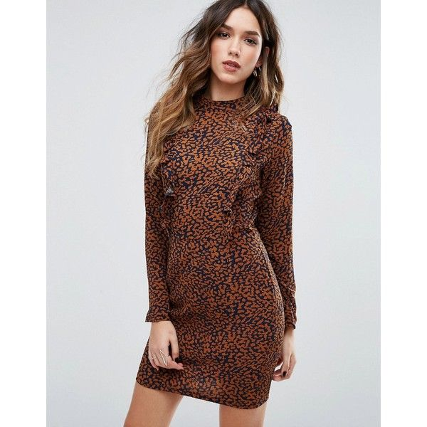 Missguided Frill Detail Leopard Print Mini Dress ($38) ❤ liked on Polyvore featuring dresses, cream, flutter-sleeve dress, frilly dresses, brown dress, leopard print mini dress and leopard print dresses