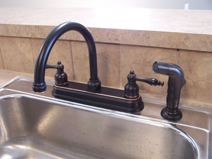 Black Bronze Kitchen Faucets With Stainless Steel Sink Rubbed