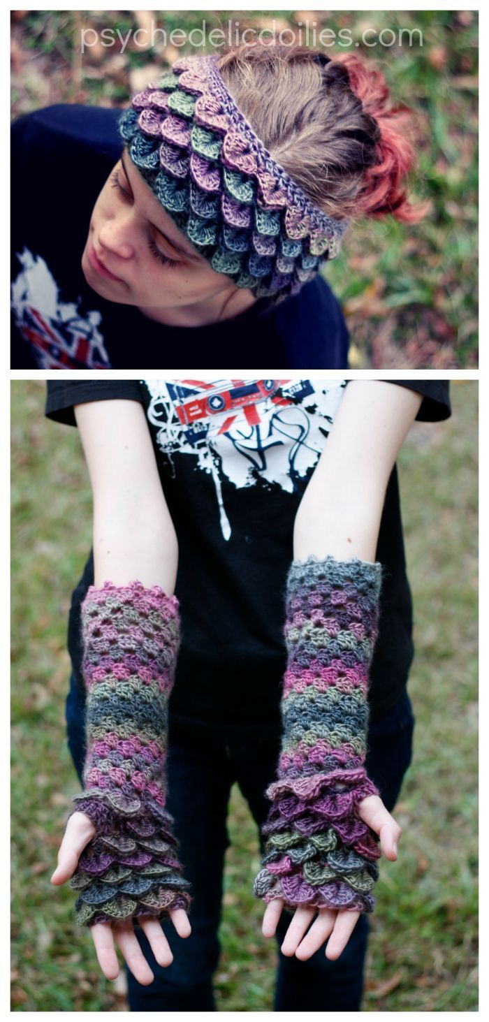 Free Crochet Pattern - Dragon scale ear warmers and matching gloves ...