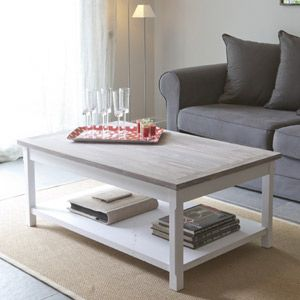 Table basse rectangulaire en bois pin blanc mathilde - Table basse blanc bois ...