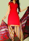 Dynamic Red Patiala Salwar Kameez suit pieces. Light weight cotton for comfort. Contact +91-9883086212 ( India )