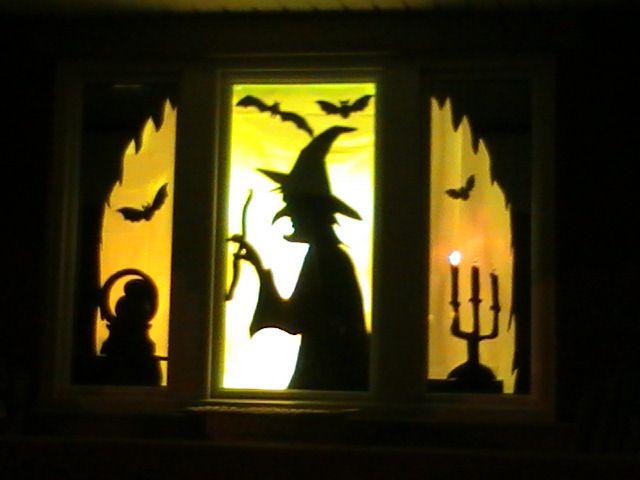 Halloween window silhouettes Holiday - Halloween Ideas Pinterest - halloween window decorations