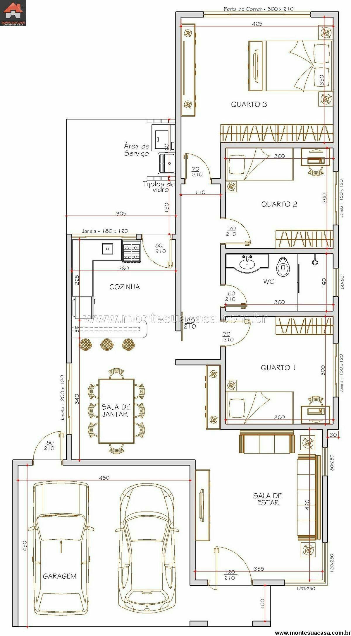 Tres dormitorios, cocina abierta y área de servicio. | planos y ...