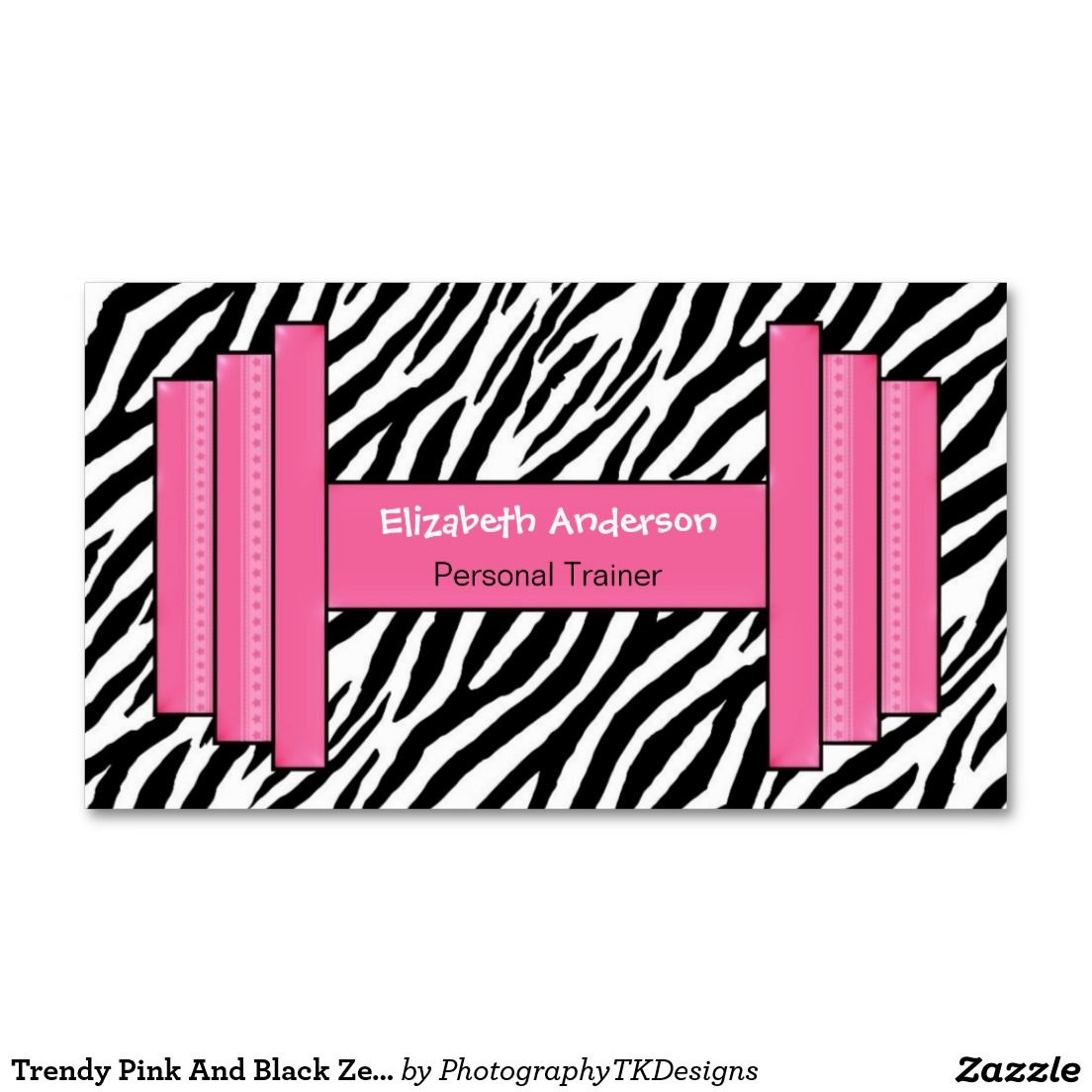 Trendy Pink And Black Zebra Print Personal Trainer Business Card ...