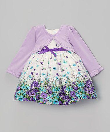 9ee302ea1 Love this Beige Floral Dress   Purple Cardigan - Infant