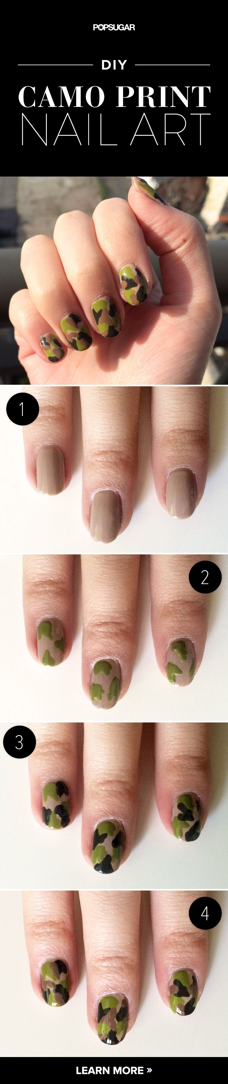 DIY the Ultimate Cool-Girl Manicure: Camo Nails! | Camo nails ...