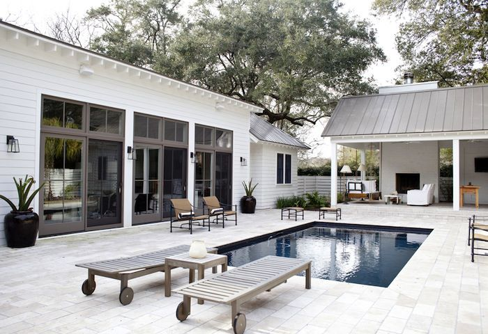 Pool + covered outdoor living - designed by architect ... on Farmhouse Outdoor Living Space id=37972