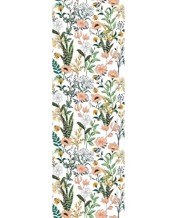 """Erich Removable Beautiful Floral 6.25' L x 25"""" W Peel and"""