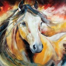 Handpainted Modern Wall Art Abstract Pictures Handsome Horse on Canvas Westland Giftware Oil Paintings for Wall and Home Decor(China (Mainland))