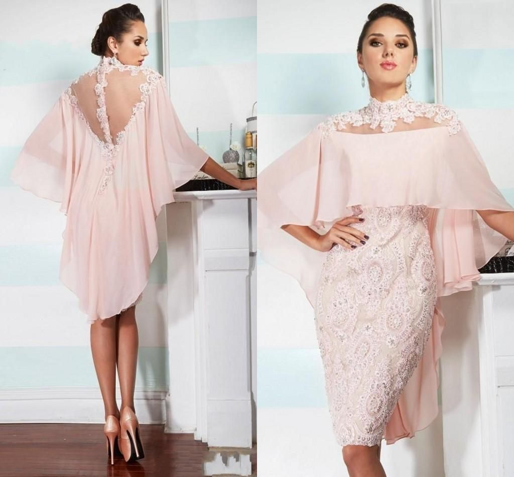 Cheap sexy mother off bride dresses high neck pink chiffon lace